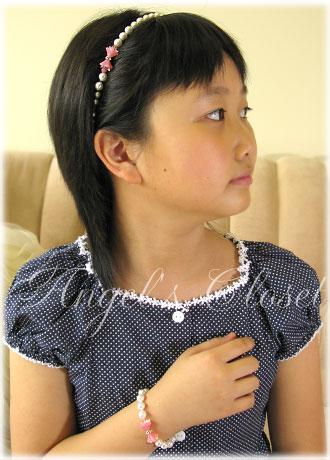 サマーエンジェルのお出かけキット(カチューム&ブレスレット)/子供ドレスのAngel'sCloset