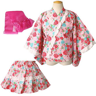 2Wayセパレート花柄浴衣ドレス3点セット(帯付き)ベビー【DollyRibbon】/子供ドレスのAngel'sCloset