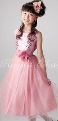 子供ドレス スパンコール&ダブルチュールドレス(KD305A)