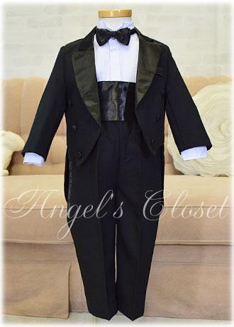 ベビー燕尾タキシード5点セット(スタンドカラーシャツ)CC4001B(60cm〜90cm)/子供ドレスのAngel'sCloset