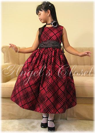 チェックワンピース&オーガンジーサッシュリボン(CK803)/子供ドレスのAngel'sCloset