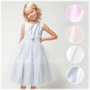 サテンwithメタリックレースドレス(SKB473)/子供ドレスのAngel'sCloset