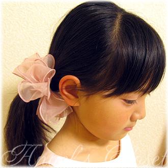 ヘアゴムオーガンジーリボン(iP04)【inPink】/子供ドレスのAngel'sCloset