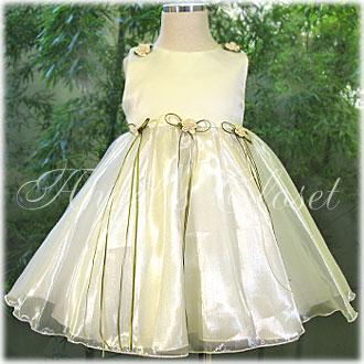 光沢のあるオーガンジー&サテンベビードレス(KD193)/子供ドレスのAngel'sCloset