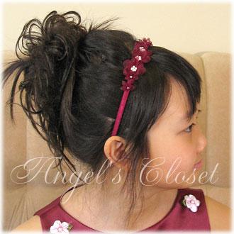 オーガンジーフラワー&パールカチューシャKD011/子供ドレスのAngel'sCloset