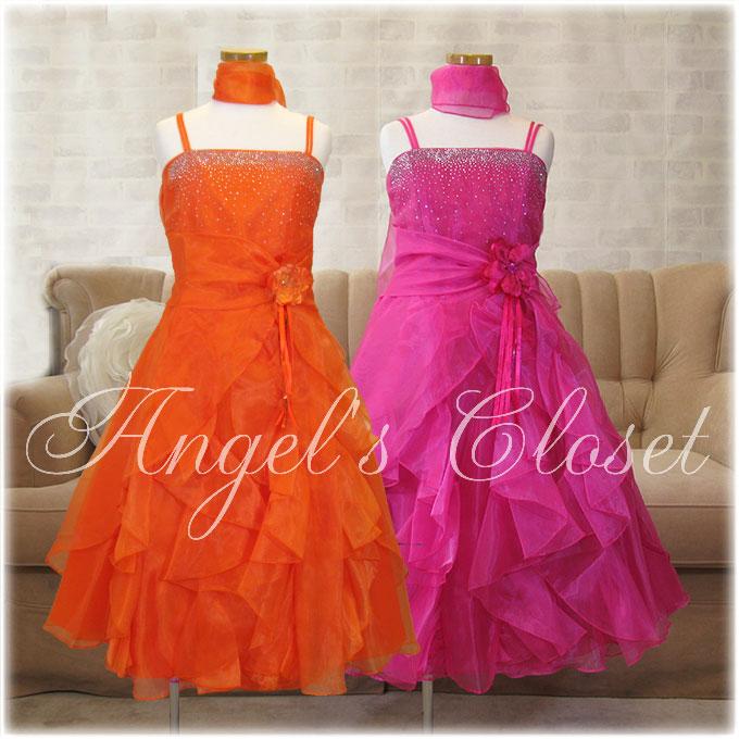 ストラップ&ラッフルオーガンジーAラインドレス(ストール付)/子供ドレスのAngel'sCloset