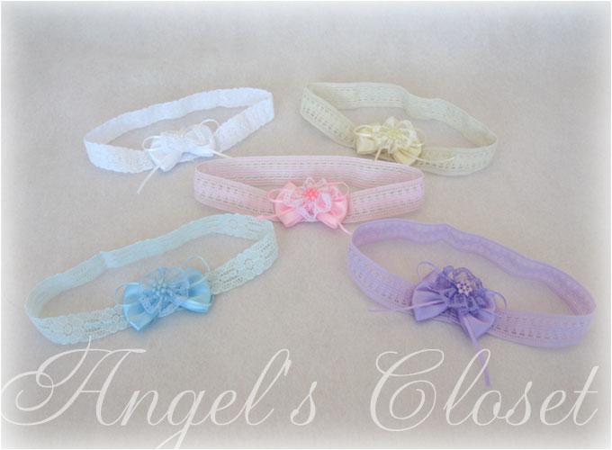 サテン&パールビーズベビーレースヘアバンド/Angel'sCloset