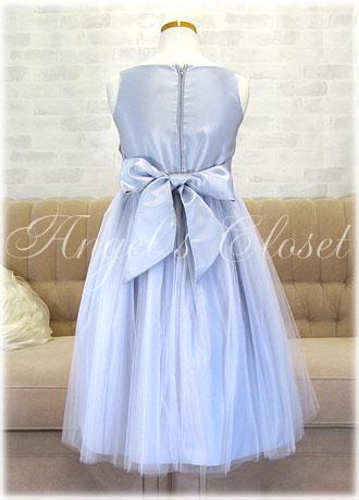 サテンwithメタリックレースドレス(SK473)/子供ドレスのAngel'sCloset