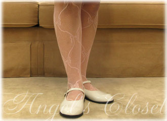 子供用カラータイツ(ウェーブ&リボン柄)/子供ドレスのAngel'sCloset