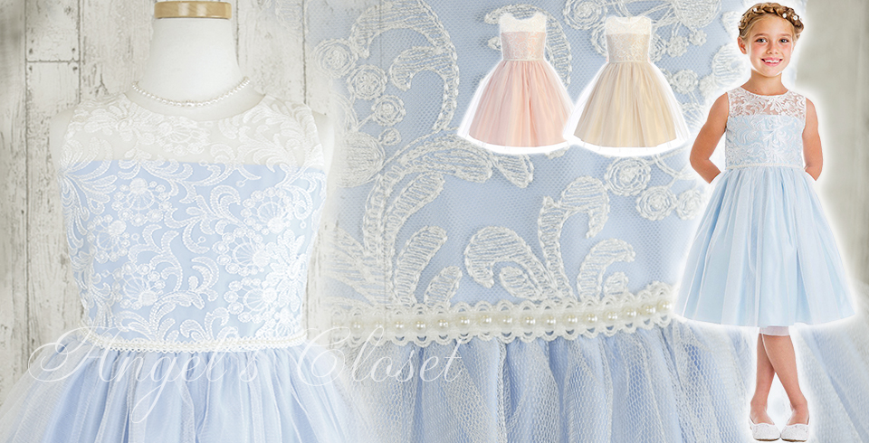 エレガント刺繍&パールトリムドレス